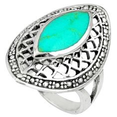 Fine green turquoise marquise 925 sterling silver ring jewelry size 5.5 c12027