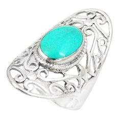 Fine green turquoise oval 925 sterling silver ring jewelry size 6.5 c12149