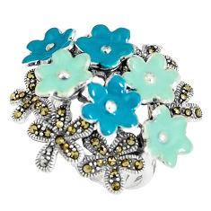 13.26gms fine marcasite enamel 925 sterling silver flower ring size 7.5 c15957