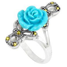 Fine marcasite enamel 925 sterling silver flower ring jewelry size 5.5 c17466