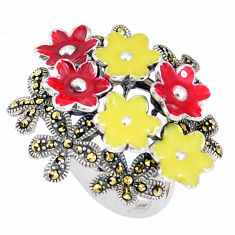 13.89gms fine marcasite enamel 925 sterling silver flower ring size 7 c21402