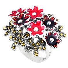 Fine marcasite enamel 925 sterling silver flower ring jewelry size 8 c15960