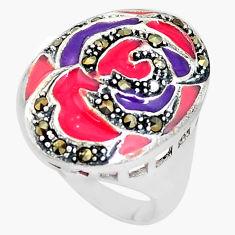 8.47gms fine marcasite enamel 925 sterling silver ring jewelry size 8.5 c18270
