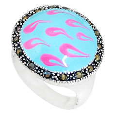 6.89gms fine marcasite enamel 925 sterling silver ring jewelry size 7.5 c18245