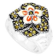7.89gms fine marcasite enamel 925 sterling silver ring jewelry size 5.5 c18474