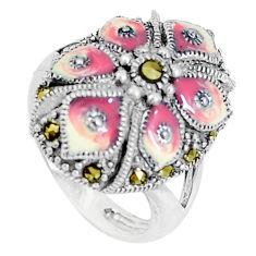6.89gms fine marcasite enamel 925 sterling silver ring jewelry size 5.5 c16195