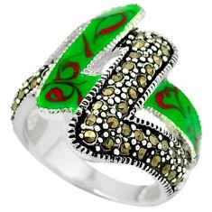 Fine marcasite enamel 925 sterling silver ring jewelry size 6.5 c18539