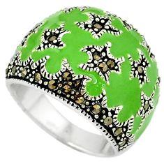 Fine marcasite enamel 925 sterling silver ring jewelry size 7.5 c18525