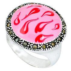Fine marcasite enamel 925 sterling silver ring jewelry size 7.5 c18246