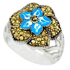 Fine marcasite enamel 925 sterling silver ring jewelry size 6.5 c18470