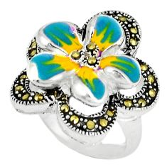 Fine marcasite enamel 925 sterling silver ring jewelry size 5.5 c18472