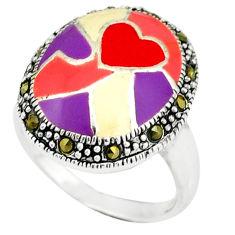 Fine marcasite enamel 925 sterling silver ring jewelry size 8.5 c18443