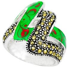 Fine marcasite enamel 925 sterling silver ring jewelry size 6.5 c18346