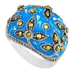 Fine marcasite enamel 925 sterling silver ring jewelry size 7.5 c18325