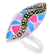 Fine marcasite enamel 925 sterling silver ring jewelry size 6.5 c18453