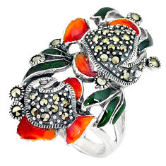 Fine marcasite enamel 925 sterling silver ring jewelry size 6.5 c16137