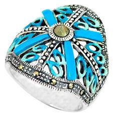 Fine marcasite enamel 925 sterling silver ring jewelry size 6.5 c16109