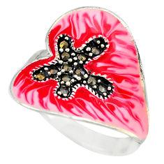 Fine marcasite enamel 925 sterling silver ring jewelry size 8.5 c18410