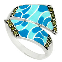 Fine marcasite enamel 925 sterling silver ring jewelry size 8.5 c18417