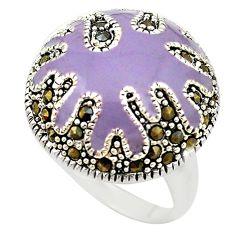 Fine marcasite enamel 925 sterling silver ring jewelry size 7.5 c18345