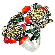 Fine marcasite enamel 925 sterling silver ring jewelry size 6.5 c16129