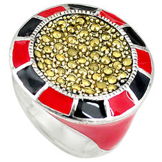 Fine marcasite enamel 925 sterling silver ring jewelry size 7.5 c15883