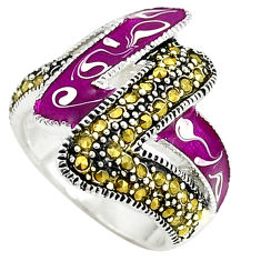 Fine marcasite enamel 925 sterling silver ring jewelry size 7.5 c15886