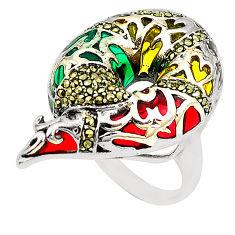 Fine marcasite enamel 925 sterling silver ring jewelry size 6.5 c20723