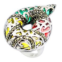 Fine marcasite enamel 925 sterling silver ring jewelry size 6.5 c20733