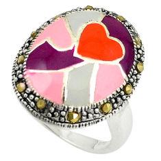 Fine marcasite enamel 925 sterling silver ring jewelry size 6.5 c22015