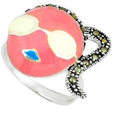 Fine marcasite enamel 925 sterling silver ring jewelry size 6 c18361