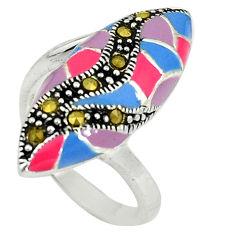 Fine marcasite enamel 925 sterling silver ring jewelry size 6 c16192