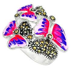 Fine marcasite enamel 925 sterling silver ring jewelry size 7 c18302