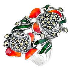 Fine marcasite enamel 925 sterling silver ring jewelry size 7 c16127