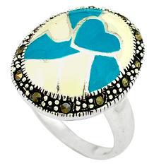 Fine marcasite enamel 925 sterling silver ring jewelry size 8 c18444