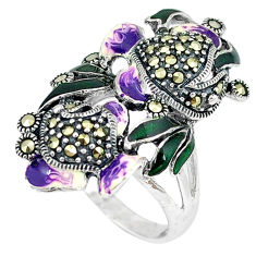 Fine marcasite enamel 925 sterling silver ring jewelry size 8 c16124