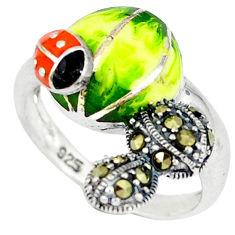 Fine marcasite enamel 925 sterling silver ring jewelry size 8 c16096
