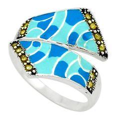 Fine marcasite enamel 925 sterling silver ring jewelry size 8 c18406
