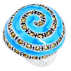 9.26gms fine marcasite enamel 925 sterling silver ring jewelry size 6 c18497
