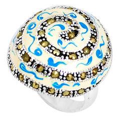 10.03gms fine marcasite enamel 925 sterling silver ring jewelry size 6 c18500