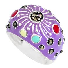 6.89gms fine marcasite enamel 925 sterling silver ring jewelry size 7 c18326