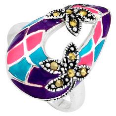 7.47gms fine marcasite enamel 925 sterling silver ring jewelry size 7 c18295