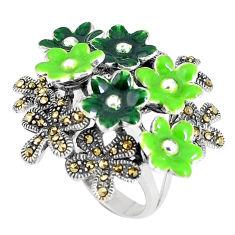 12.89gms fine marcasite enamel 925 sterling silver ring jewelry size 7 c15950
