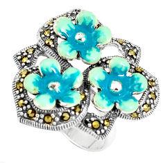 9.69gms fine marcasite enamel 925 sterling silver flower ring size 6 c15961