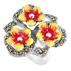 9.87gms fine marcasite enamel 925 sterling silver flower ring size 7 c15968