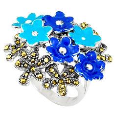 12.68gms fine marcasite enamel 925 sterling silver flower ring size 8 c15951
