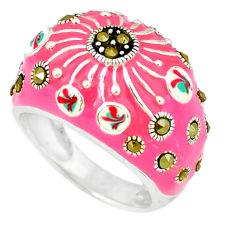 Fine marcasite multi color enamel 925 sterling silver ring jewelry size 6 c18339