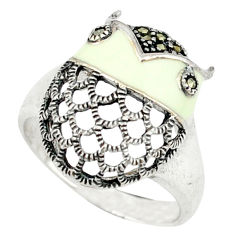 Fine marcasite white enamel 925 sterling silver ring jewelry size 6.5 c16214