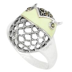 Fine marcasite white enamel 925 sterling silver ring jewelry size 8.5 c16208