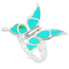 4.89gms fine turquoise enamel 925 silver butterfly ring size 7.5 a88527 c13408